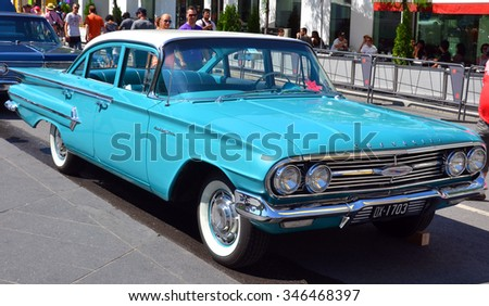 MONTREAL CANADA 08 08 2015: In street of Montreal a Chevrolet Bel Air was a full-size automobile that was produced by Chevrolet for the 1950â??1981 model years. Initially only the two door Hardtops.