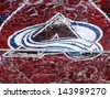 MONTREAL CANADA JANUARY 24: Colorado Avalanche jersey in an ice block in front the Molson center of Montreal Canadians for the 57e All stars game on January 24 2009 in Montreal Canada - stock photo