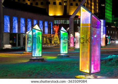 MONTREAL, CANADA -23 January 2015: Luminotherapie art installation, Prismatica, at Place des Festivals in Montreal'?s Quartier des Spectacles - stock photo
