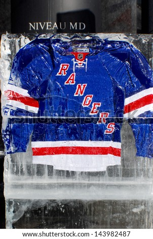 MONTREAL CANADA JANUARY 24: New York Rangers jersey in an ice block in front the Molson center of Montreal Canadians for the 57e All stars game on January 24 2009 in Montreal Canada