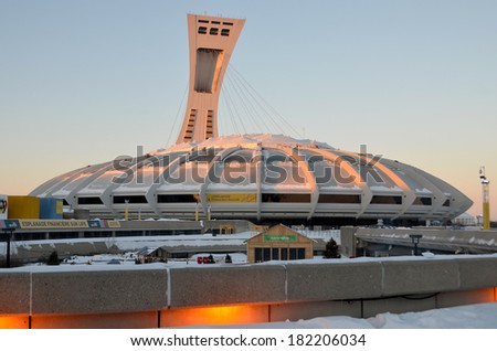 MONTREAL,CANADA - JANUARY 3.The Montreal Olympic Stadium and tower on January 3 , 2013. It's the tallest inclined tower in the world.Tour Olympique stands 175 meters tall and at a 45-degree angle
