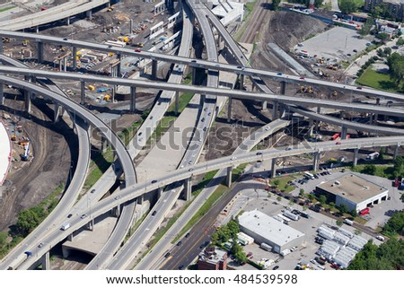 Montreal, Canada. July 22, 2016. Aerial view from above the Turcot interchange mega project. Structures are being demolished and moved to better sustain traffic and  include public green spaces