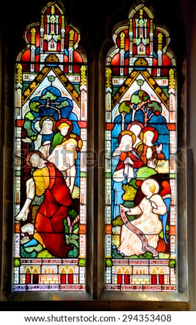MONTREAL CANADA JULY 2 2015: Stained glass window in Christ Church Cathedral is an Anglican Gothic Revival cathedral in Montreal, Quebec, Canada, the seat of the Anglican Diocese of Montreal.   - stock photo