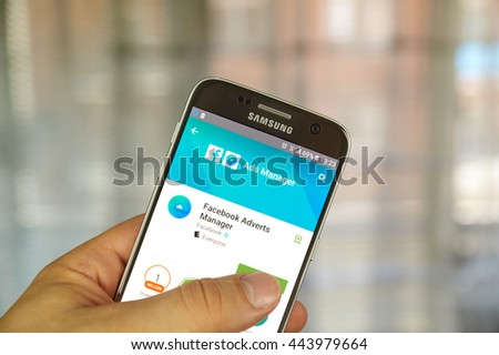 MONTREAL, CANADA - JUNE 24, 2016 : Facebook Ads Manager on Samsung S7 screen. Ads Manager is built to help Facebook advertisers manage and create ads from mobile devices. - stock photo