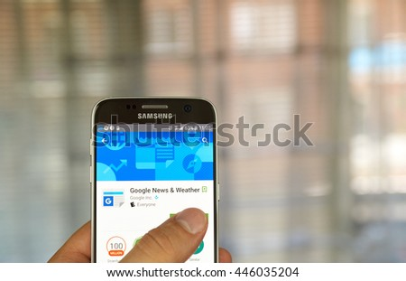 MONTREAL, CANADA - JUNE 23, 2016 : Google Play Newsstand on Android phone. Google Play Newsstand is a news aggregator and digital newsstand application developed by Google