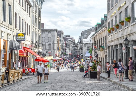 Montreal, Canada - June 6, 2015: Popular St Paul street in the Old Port. People can be seen around. - stock photo