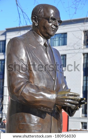 MONTREAL CANADA MARCH 09: Bronze of Jean Drapeau was a Canadian lawyer and politician who served as mayor of Montreal from 1954 to 1957 and 1960 to 1986 march 09 2014 in Montreal Canada