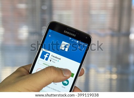 MONTREAL, CANADA - MARCH 20, 2016 - Facebook application on android smartphone. Facebook is a corporation and online social networking service