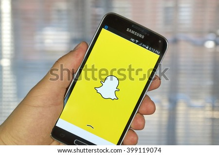 MONTREAL, CANADA - MARCH 20, 2016 - Snapchat application on android smartphone. Snapchat is a mobile messaging application used to share photos, videos, text, and drawings. - stock photo