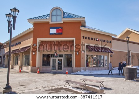MONTREAL, CANADA - MARCH 6, 2016 - Tommy Hilfiger outlet in  Premium Outlets Montreal. The Premium Outlets is the second Premium Outlet Center in Canada located in Mirabel, Quebec.