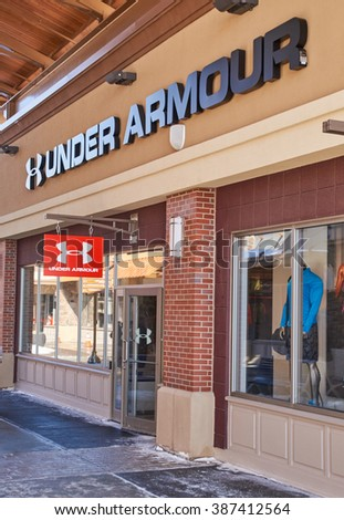 MONTREAL, CANADA - MARCH 6, 2016 - Under Armour outlet in  Premium Outlets Montreal. The Premium Outlets is the second Premium Outlet Center in Canada located in Mirabel, Quebec.