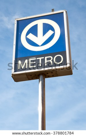 MONTREAL, CANADA - NOVEMBER, 2015 - Blue sign of Montreal's metro on blue sky background