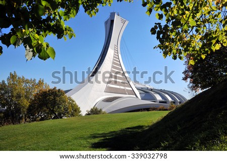 MONTREAL, CANADA - Oct 2, 2010: The Olympic Stadium built for the 1976 summer games. It is the largest stadium by seating capacity in Canada.