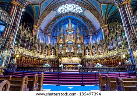 MONTREAL, CANADA - OCTOBER 12: Interior of Notre-Dame Basilic on October 12, 2013 in Montreal, Canada. The church's Gothic Revival architecture is among the most dramatic in the world.  - stock photo