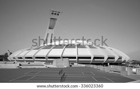 MONTREAL CANADA OCTOBER 25 2015 The Montreal Olympic Stadium and tower. The tallest inclined tower in the world.Tour Olympique stands 175 meters tall and at a 45-degree angle  - stock photo