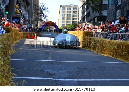 Montreal, Canada - September 06, 2015: Montreal Red Bull Soapbox Race in Montreal Downtown.A lot of fun and ingenious ideas.Number 10-Aerodynamic  team.