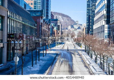 Montreal, Canada - 6th march 2016: McGill College Avenue from Place Ville Marie, in Winter.