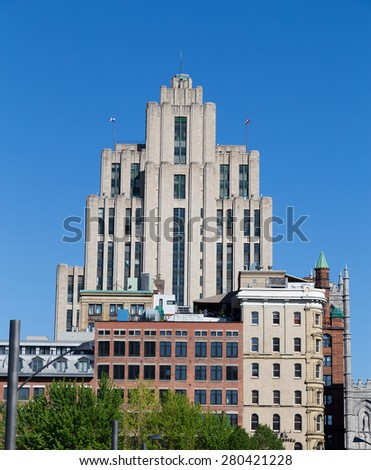 MONTREAL, CANADA - 17TH MAY 2015: A view of buildings in downtown Montreal during the day - stock photo