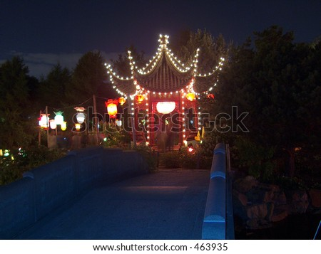 Montreal Chinese Lanterns Festival annual event takes place in October, when it is dark in the evening. - stock photo