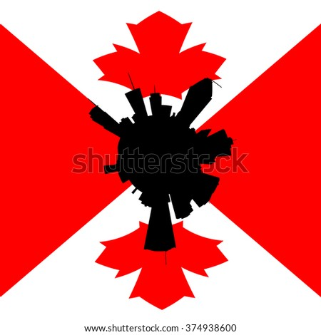 Montreal circular skyline with Canadian flag illustration - stock photo
