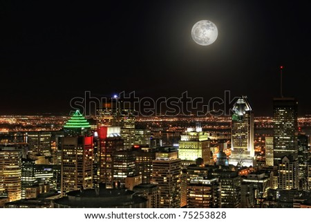 Montreal city at moonlight - stock photo