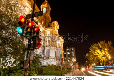Montreal city hall with traffic flow at night - stock photo