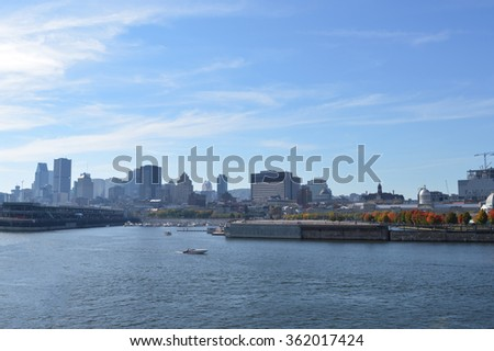 Montreal city skyline in the old port, Montreal, Quebec, Canada.  - stock photo
