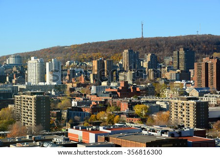 Montreal city skyline with Mont Royal at the background, Montreal, Quebec, Canada - stock photo