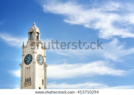 Montreal clock tower, Quai de l'Horloge, at the entrance of the old port of Montreal. Against blue sky and clouds with space for your text - stock photo