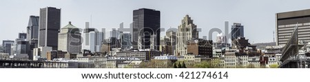 Montreal downtown from Old Port wide panorama - stock photo