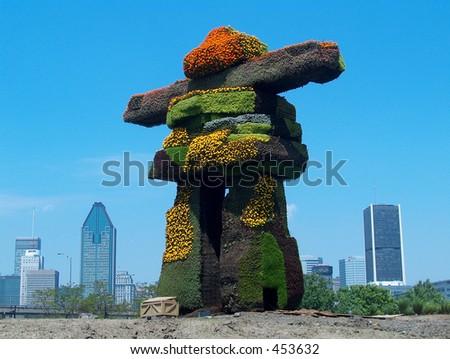 Montreal Flower Sculptures - stock photo