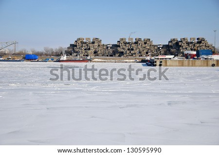 MONTREAL-JAN. 23: A view of Habitat 67 on Jan 23, 2011 in Montreal, Quebec, CA. Habitat 67 is considered a landmark and one of the most recognizable and significant buildings in Montreal and Canada - stock photo