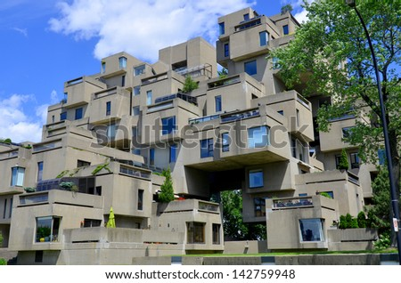 MONTREAL-JUNE 15: A view of Habitat 67 on June 15, 2013 in Montreal, Quebec, CA. Habitat 67 is considered a landmark and one of the most recognizable and significant buildings in Montreal and Canada - stock photo