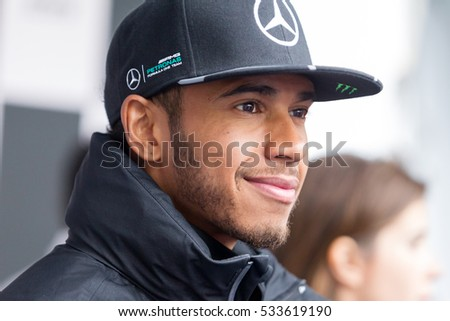 Montreal June 9, 2016.  Mercedes AMG Petronas pilot and 2016  F1 champion Lewis Hamilton smiles at the crowd on fans appreciation day at the Canadian Grand Prix week-end.