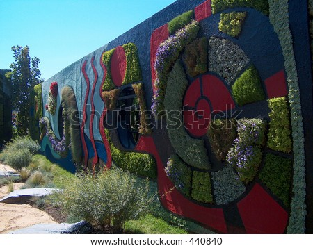 Montreal Mosaiculture 2003 Flower Sculptures Wall of Flowers - stock photo