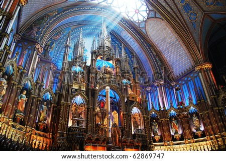 Montreal Notre-Dame Basilica Sunshine on the altar of Montreal Notre-Dame Basilica (French: Basilique Notre-Dame de Montreal) - stock photo