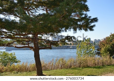 Montreal over river  Canada - stock photo