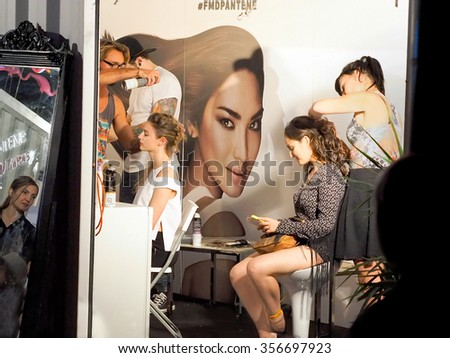 Montreal Quebec Canada - August 22 2015 -  Festival Mode & Design Pantene Makeover booth where the general public gets a free makeover