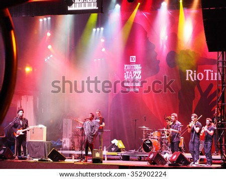 Montreal Quebec Canada - June 30 2014 - Ester Rada singer from Israel sings on stage International Jazz Festival - stock photo