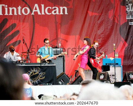 montreal, quebec, canada 27 june Montreal International Jazz Festival 2014 Beth Hart singer pianist with her band outdoor free  live concert downtown center stage of Scene Rio Tinto Alcan at 8:00 pm - stock photo