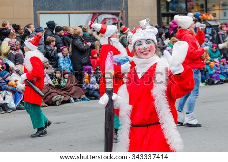 MONTREAL, QUEBEC, CANADA - NOVEMBER 21, 2015 : The 65th edition of the Santa Claus Parade Destination Centre-ville (Defile du Pere Noel) along Saint Catherine Street.