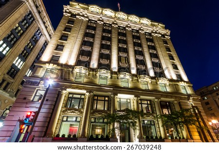 Montreal,Quebec,Canada- September 26-2013 Hotel St-Paul in old Montreal at night. Ana Borrallo is the creative mind behind the decor of the hotel St Paul, architectural jewel of Old Montreal.  - stock photo