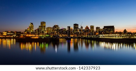 montreal quebec city skyline at night