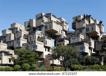 MONTREAL - SEPTEMBER 26: A view of Habitat 67 on September 26, 2011 in Montreal, Quebec, CA. The landmark housing complex was originally built for the 1967 World's Fair, also known as Expo 67. - stock photo