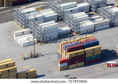 Montreal, September 10, 2017. Aerial view looking at cargo containers sitting ready for shipping at the Port of Montreal, Canada.