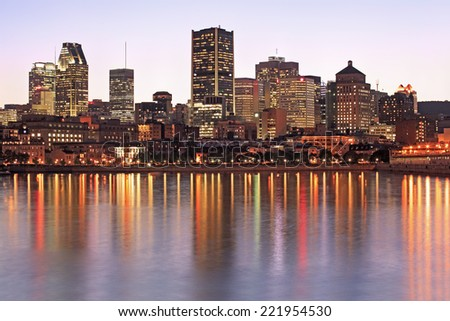 Montreal skyline and reflections at dusk, Quebec, Canada