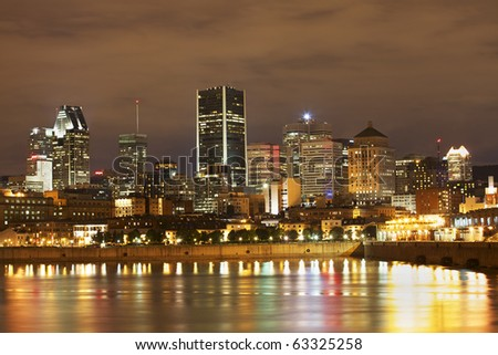 Montreal skyline and Saint Lawrence River in autumn - stock photo