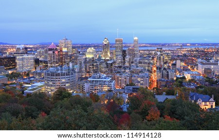 Montreal skyline at dusk, aerial view - stock photo