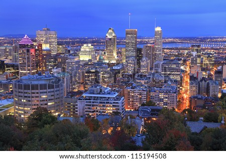 Montreal skyline at dusk in autumn, Canada - stock photo