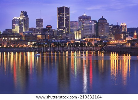 Montreal skyline at dusk, Saint Lawrence River